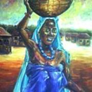 Calabash Lady In Blue Art Print