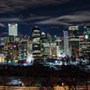 Calgary Skyline At Night Art Print