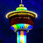 Calgary Tower At Night Art Print