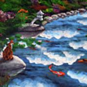 Calico Cat At Koi Pond Art Print