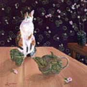 Calico Tea Meditation Art Print