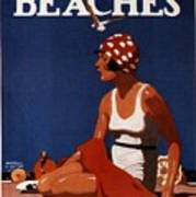 California Beaches - Girl On A Beach - Retro Poster - Vintage Advertising Poster Art Print