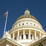 California Capitol Cupola And Flag Art Print