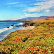 California Coast Wildflowers On Cliffs Ap Art Print