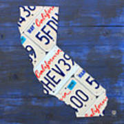 California License Plate Map On Blue Art Print by Design Turnpike