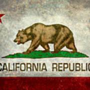 California Republic State Flag Retro Style Art Print