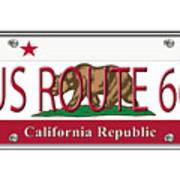 California Route 66 License Plate Art Print