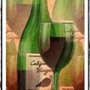 California Vineyard Wine Bottle And Glass Art Print