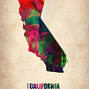 California Watercolor Map Art Print