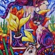 Calla Cacti Cat Izona Art Print