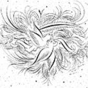 Calligraphic Love Birds Art Print