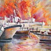 Calpe Harbour Spain Art Print