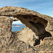 Calvi In Corsica Viewed Through A Hole In A Rock Art Print