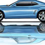 Camaro 2010 Reflects Old Blue Art Print