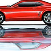 Camaro 2010 Reflects Old Red Art Print