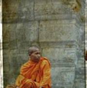 Cambodian Monk At Angkor Wat Art Print