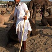 Camel Trader Pushkar Art Print
