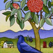 Camellia And Crow Art Print by Stacey Neumiller