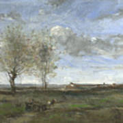 Camille Corot   A Wagon In The Plains Of Artois Art Print