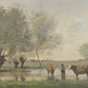 Camille Corot   Cows In A Marshy Landscape Art Print