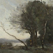 Camille Corot   The Leaning Tree Trunk Art Print