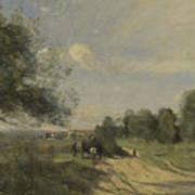Camille Corot   The Wagon Souvenir Of Saintry Art Print
