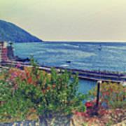 Camogli, Panorama Of The Sea. Art Print