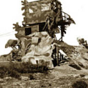 Camouflage Observation Tower Near Asilomar And The Point Pinos Lighthouse 1941 Art Print