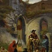 Camp Gypsies In The Ruins Of The Abbey Art Print