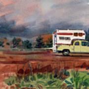 Camper On Pacific Coast Highway Art Print