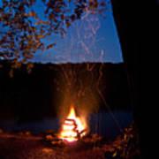 Campfire At Dusk Art Print