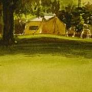 Camping In My Yellow Tent Art Print