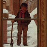Can I Shovel Off The Snow ? Art Print