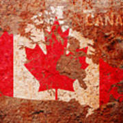 Canada Flag Map Art Print