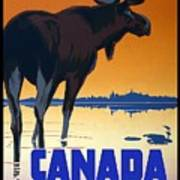 Canada For Big Game Travel Canadian Pacific - Moose - Retro Travel Poster - Vintage Poster Art Print