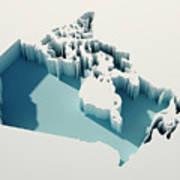 Canada Simple Intrusion Map 3d Render Art Print