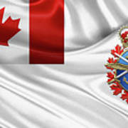 Canadian Armed Forces  -  C A F  Badge Over Flag Art Print
