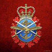 Canadian Armed Forces  -  C A F  Badge Over Red Velvet Art Print