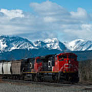 Canadian National Freight Train Leaving The Rockies - Hinton Alberta Art Print