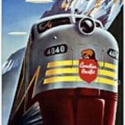 Canadian Pacific - Railroad Engine, Mountains - Retro Travel Poster - Vintage Poster Art Print
