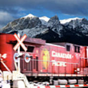 Canadian Pacific Trail Slices Through The Rockies Art Print