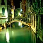 Canal And Bridge In Venice At Night Art Print