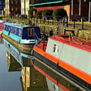 Canal Barges At Gloucester Dock Art Print