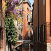 Canal In Venice With Flowers Art Print