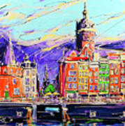 Canal Of Amsterdam, Storm Is Comming Art Print
