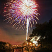 Canal View Of Fire Works Art Print