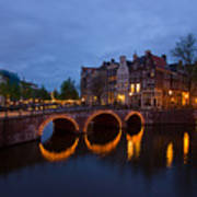 Canals Of Amsterdam At Night Art Print