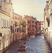 Canals Of Venice With Instagram Vintage Style Filter Art Print