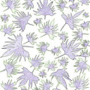 Canary Vine Leaves - Purple And Green Art Print