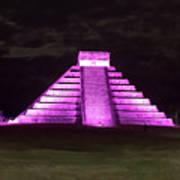 Cancun Mexico - Chichen Itza - Temple Of Kukulcan-el Castillo Pyramid Night Lights 2 Art Print